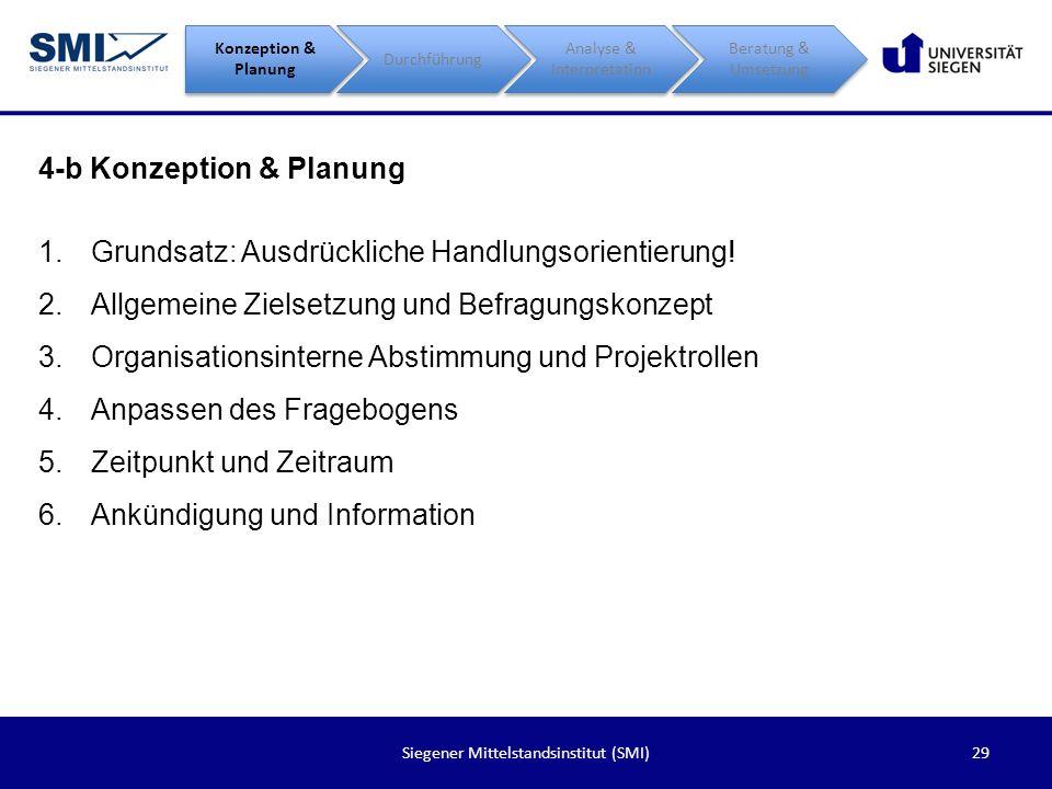 29Siegener Mittelstandsinstitut (SMI) 4-b Konzeption & Planung Konzeption & Planung Durchführung Analyse & Interpretation Beratung & Umsetzung 1.Grund
