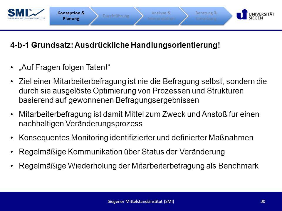 30Siegener Mittelstandsinstitut (SMI) 4-b-1 Grundsatz: Ausdrückliche Handlungsorientierung! Konzeption & Planung Durchführung Analyse & Interpretation