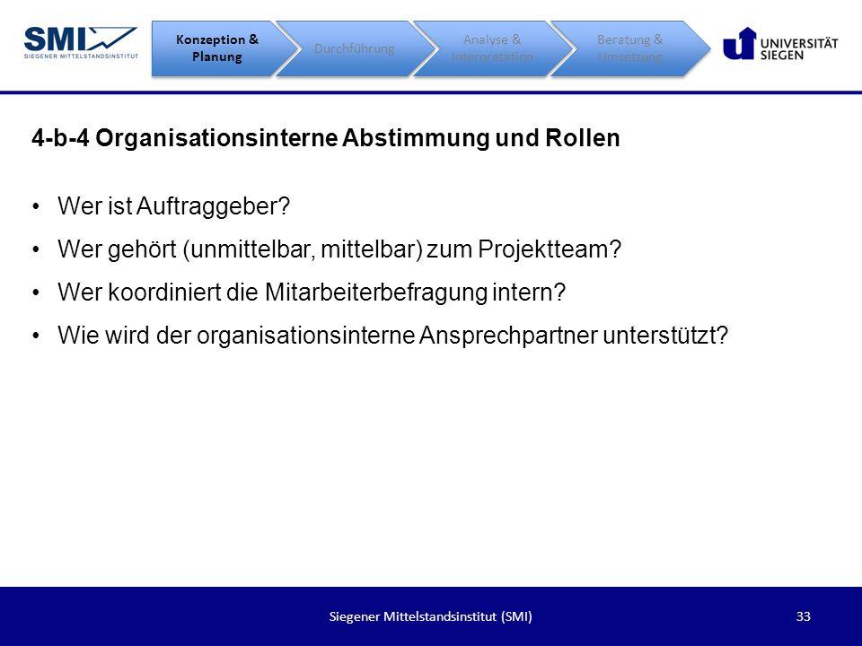 33Siegener Mittelstandsinstitut (SMI) 4-b-4 Organisationsinterne Abstimmung und Rollen Konzeption & Planung Durchführung Analyse & Interpretation Bera