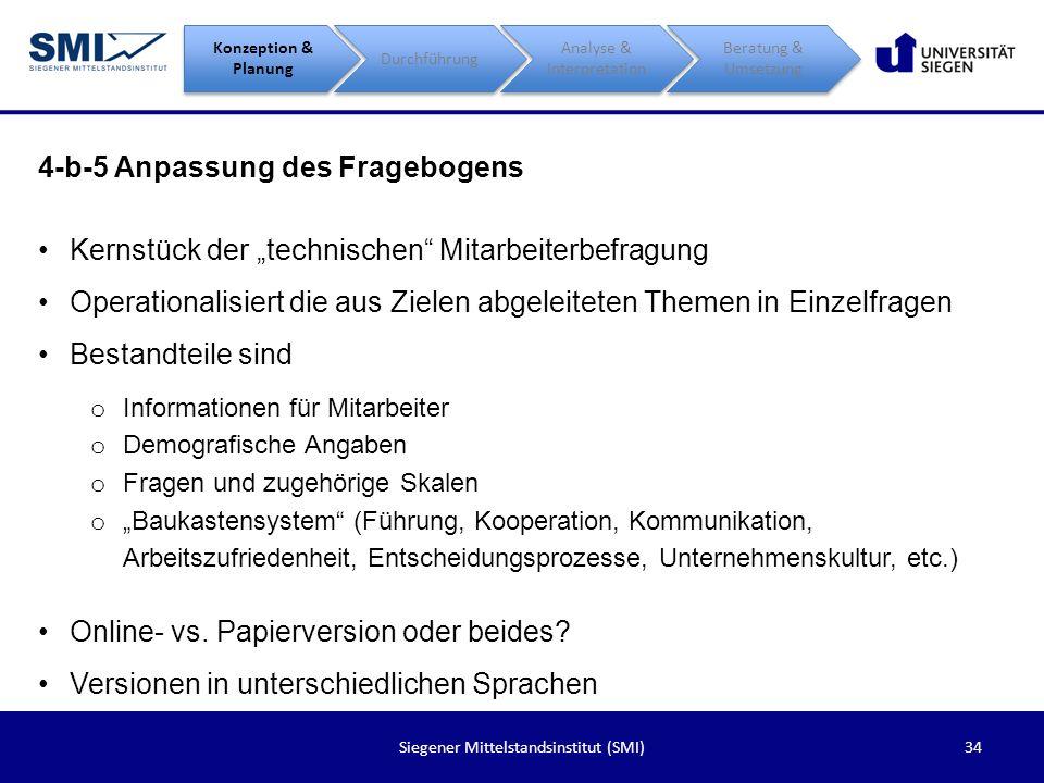 34Siegener Mittelstandsinstitut (SMI) 4-b-5 Anpassung des Fragebogens Konzeption & Planung Durchführung Analyse & Interpretation Beratung & Umsetzung