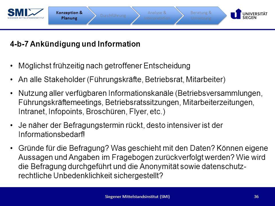 36Siegener Mittelstandsinstitut (SMI) 4-b-7 Ankündigung und Information Konzeption & Planung Durchführung Analyse & Interpretation Beratung & Umsetzun