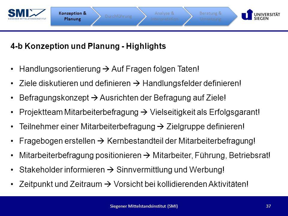 38Siegener Mittelstandsinstitut (SMI) 4-c Durchführung Konzeption & Planung Durchführung Analyse & Interpretation Beratung & Umsetzung Beteiligungsquote o Eine möglichst hohe Beteiligung ist anzustreben.