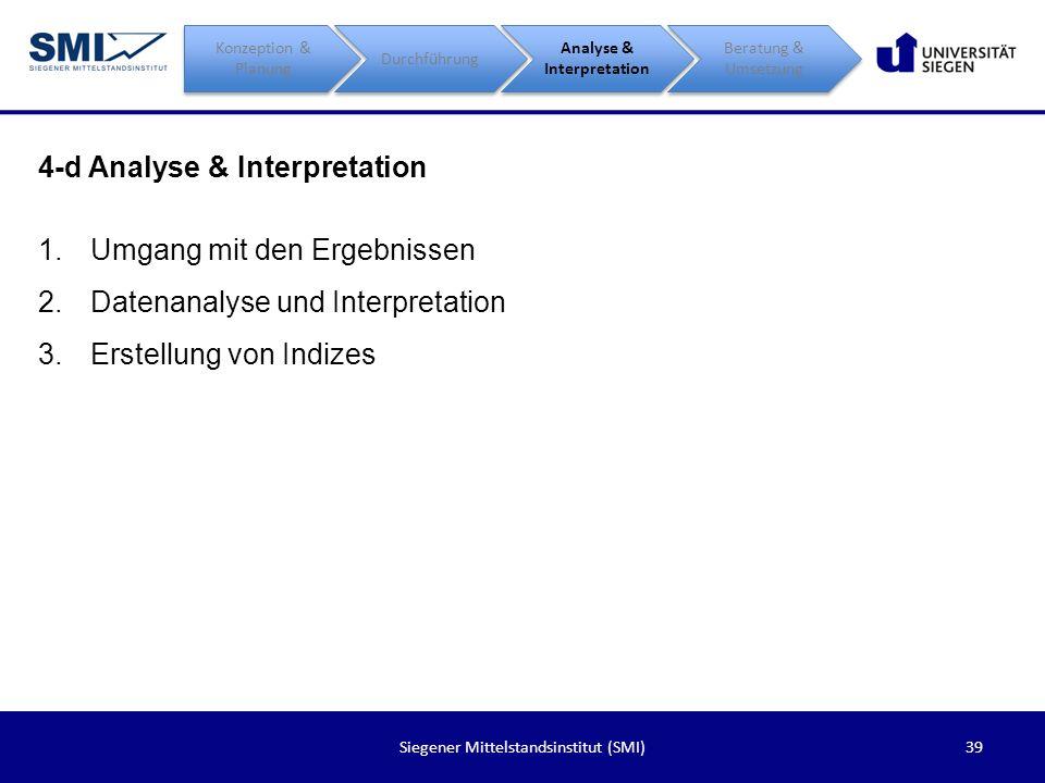39Siegener Mittelstandsinstitut (SMI) 4-d Analyse & Interpretation Konzeption & Planung Durchführung Analyse & Interpretation Beratung & Umsetzung 1.U