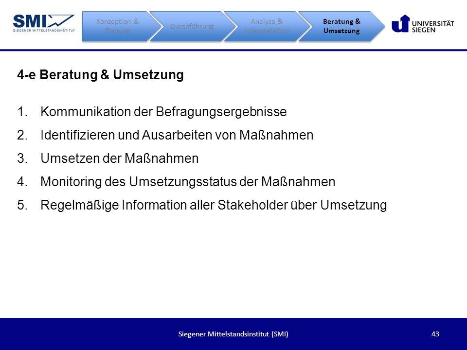 43Siegener Mittelstandsinstitut (SMI) 4-e Beratung & Umsetzung Konzeption & Planung Durchführung Analyse & Interpretation Beratung & Umsetzung 1.Kommu