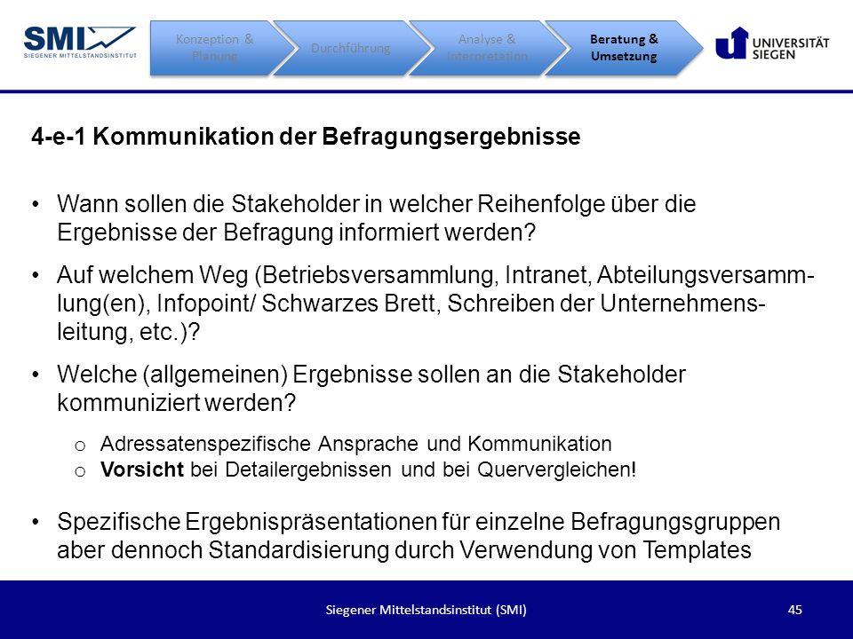 45Siegener Mittelstandsinstitut (SMI) 4-e-1 Kommunikation der Befragungsergebnisse Konzeption & Planung Durchführung Analyse & Interpretation Beratung