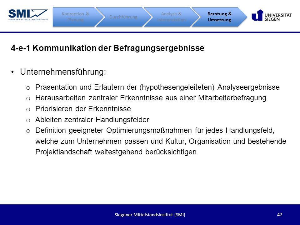 47Siegener Mittelstandsinstitut (SMI) 4-e-1 Kommunikation der Befragungsergebnisse Konzeption & Planung Durchführung Analyse & Interpretation Beratung