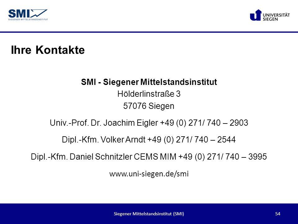 54Siegener Mittelstandsinstitut (SMI) Ihre Kontakte SMI - Siegener Mittelstandsinstitut Hölderlinstraße 3 57076 Siegen Univ.-Prof. Dr. Joachim Eigler