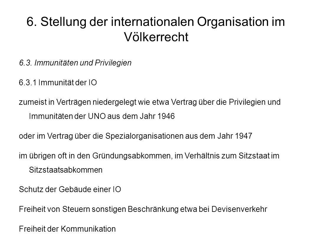 6.Stellung der internationalen Organisation im Völkerrecht 6.3.