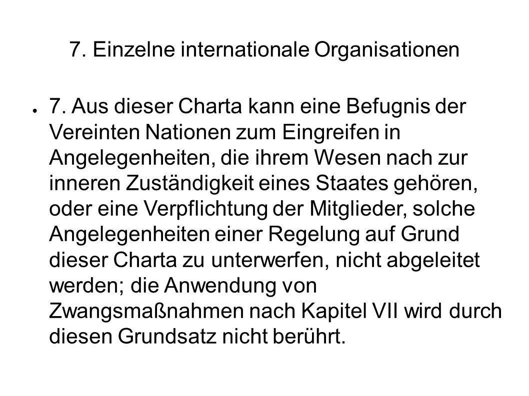 7.Einzelne internationale Organisationen 7.