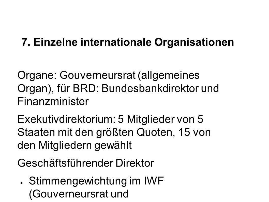 7. Einzelne internationale Organisationen Organe: Gouverneursrat (allgemeines Organ), für BRD: Bundesbankdirektor und Finanzminister Exekutivdirektori