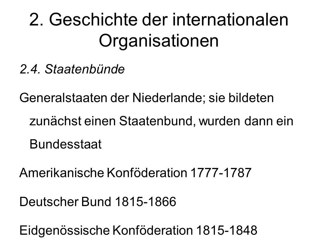 2.Geschichte der internationalen Organisationen 2.4.