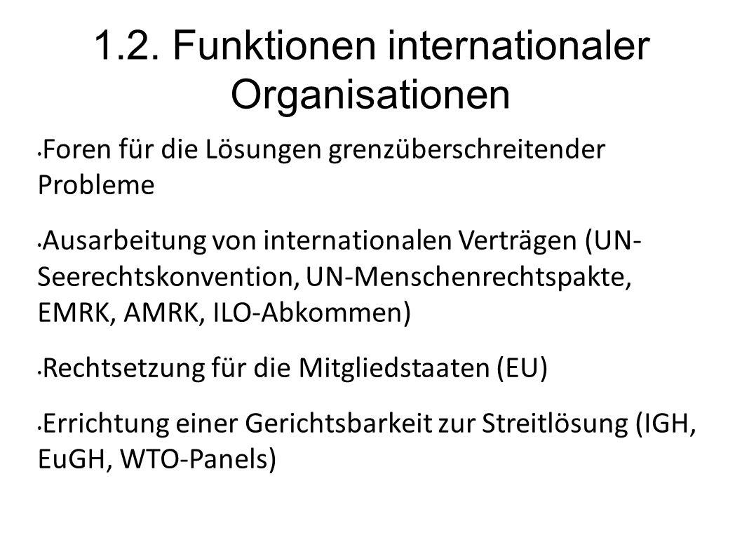 1.2. Funktionen internationaler Organisationen Foren für die Lösungen grenzüberschreitender Probleme Ausarbeitung von internationalen Verträgen (UN- S