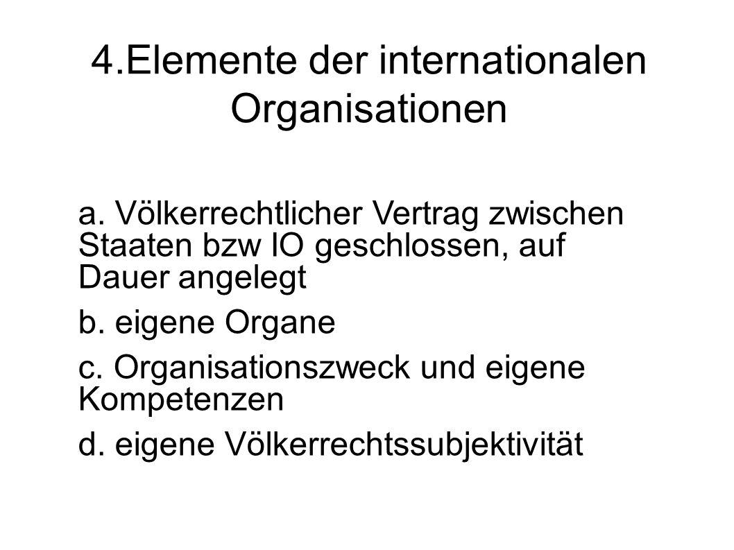4.Elemente der internationalen Organisationen a.