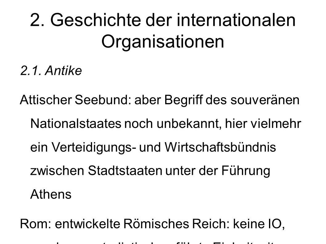 2.Geschichte der internationalen Organisationen 2.1.