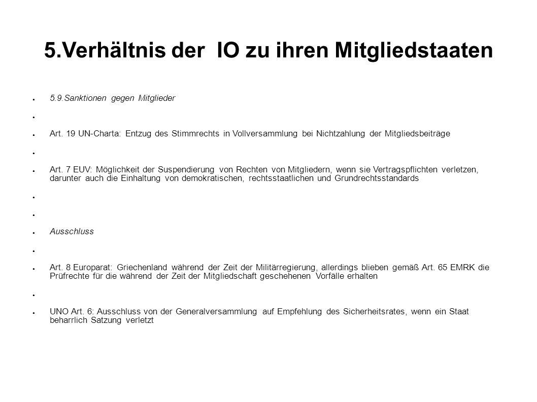 5.Verhältnis der IO zu ihren Mitgliedstaaten 5.9.Sanktionen gegen Mitglieder Art.