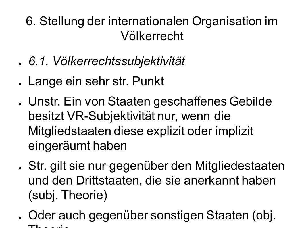 6.Stellung der internationalen Organisation im Völkerrecht 6.1.