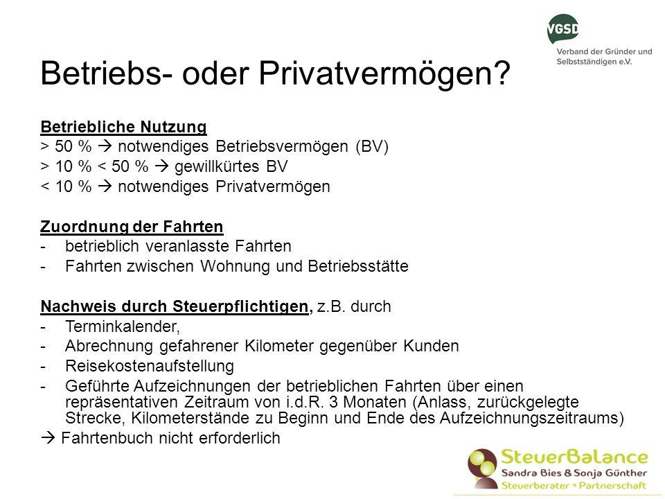 Betriebs- oder Privatvermögen? Betriebliche Nutzung > 50 % notwendiges Betriebsvermögen (BV) > 10 % < 50 % gewillkürtes BV < 10 % notwendiges Privatve