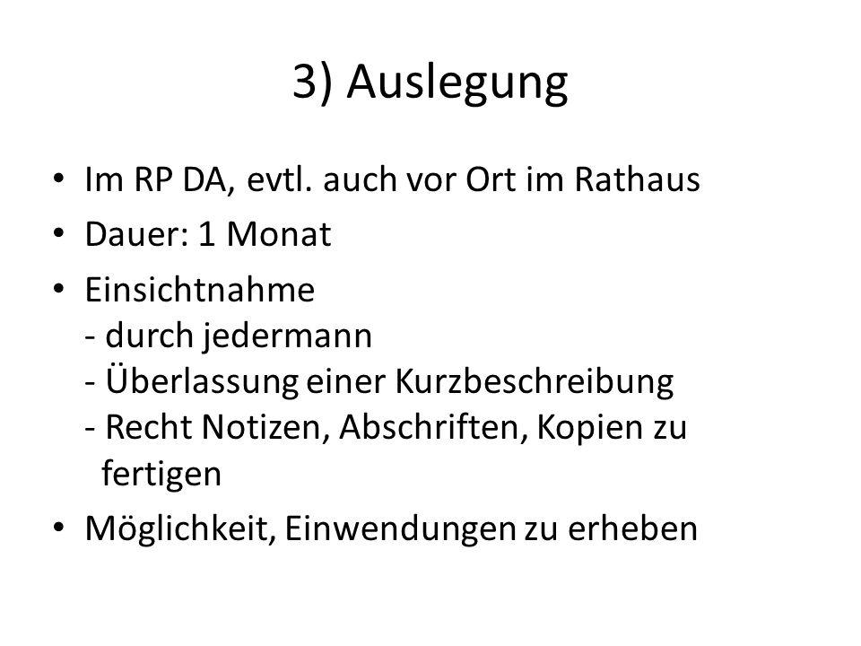 3) Auslegung Im RP DA, evtl.