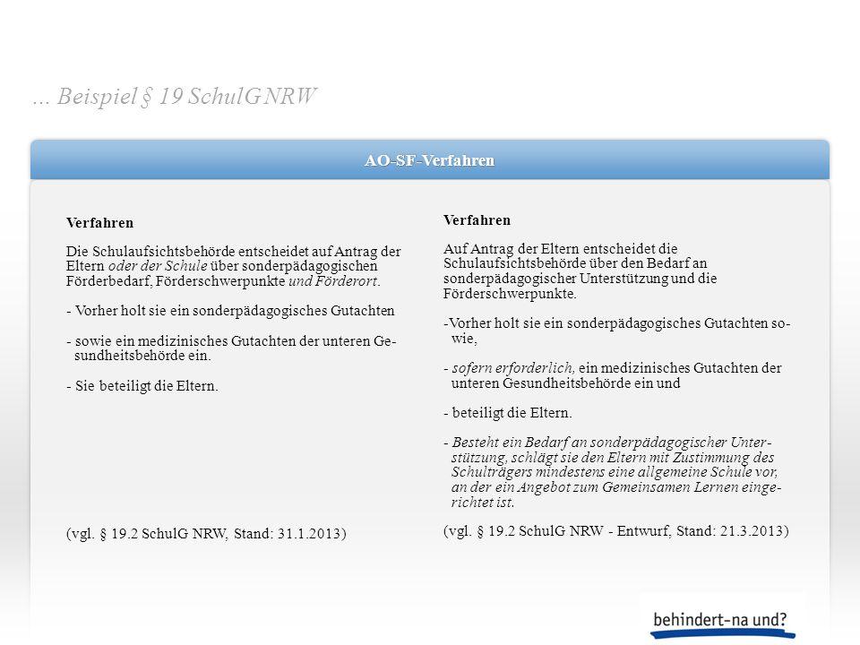 AO-SF-VerfahrenAO-SF-Verfahren Verfahren Die Schulaufsichtsbehörde entscheidet auf Antrag der Eltern oder der Schule über sonderpädagogischen Förderbe