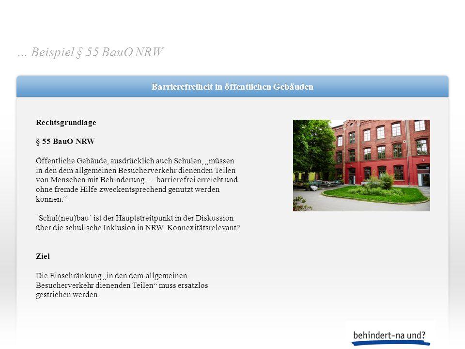 Barrierefreiheit in öffentlichen Gebäuden Rechtsgrundlage § 55 BauO NRW Öffentliche Gebäude, ausdrücklich auch Schulen, müssen in den dem allgemeinen