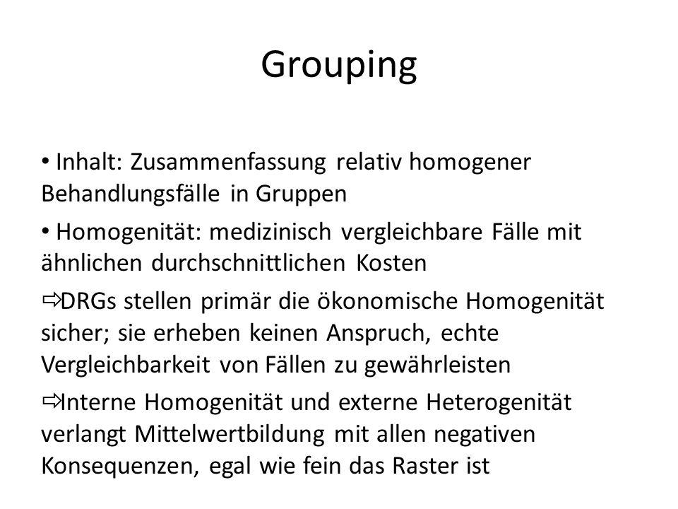 Grouping Inhalt: Zusammenfassung relativ homogener Behandlungsfälle in Gruppen Homogenität: medizinisch vergleichbare Fälle mit ähnlichen durchschnitt
