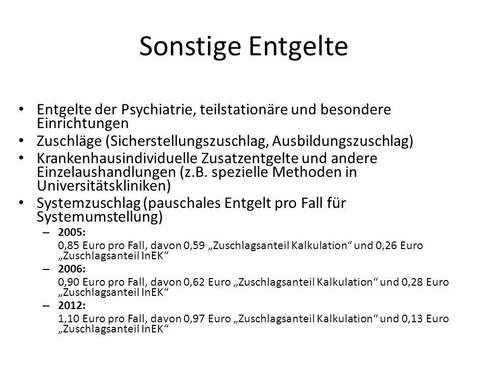 Sonstige Entgelte Entgelte der Psychiatrie, teilstationäre und besondere Einrichtungen Zuschläge (Sicherstellungszuschlag, Ausbildungszuschlag) Kranke