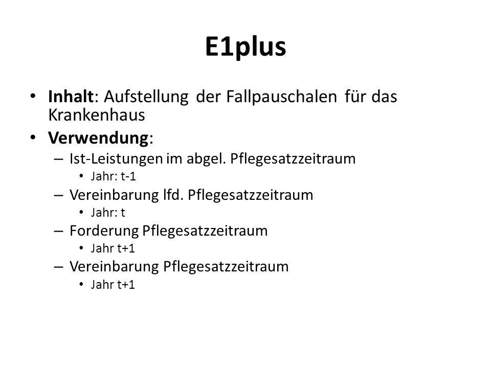 E1plus Inhalt: Aufstellung der Fallpauschalen für das Krankenhaus Verwendung: – Ist-Leistungen im abgel. Pflegesatzzeitraum Jahr: t-1 – Vereinbarung l