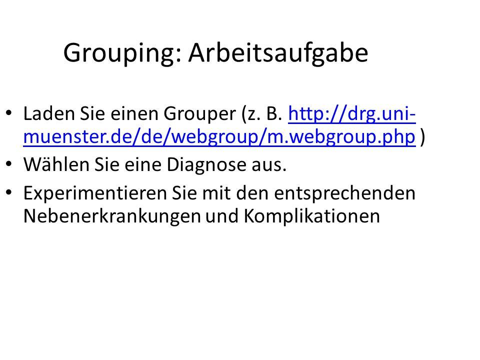 Grouping: Arbeitsaufgabe Laden Sie einen Grouper (z. B. http://drg.uni- muenster.de/de/webgroup/m.webgroup.php )http://drg.uni- muenster.de/de/webgrou