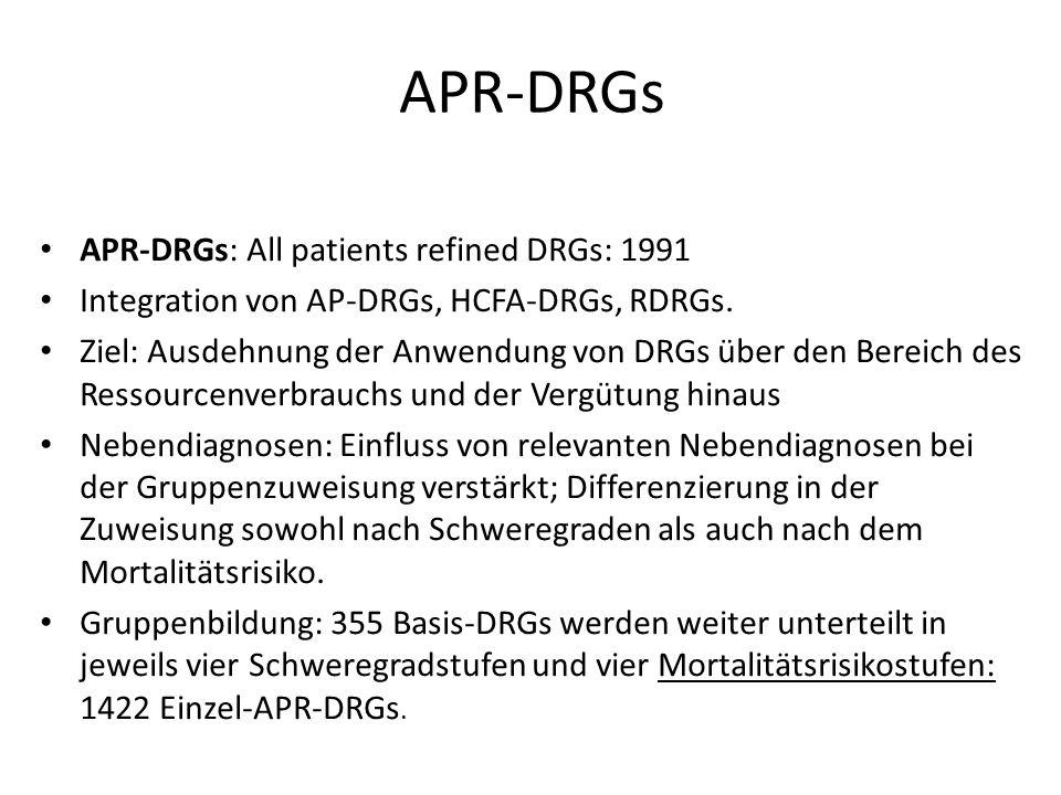 APR-DRGs APR-DRGs: All patients refined DRGs: 1991 Integration von AP-DRGs, HCFA-DRGs, RDRGs. Ziel: Ausdehnung der Anwendung von DRGs über den Bereich