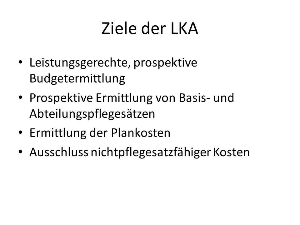 Ziele der LKA Leistungsgerechte, prospektive Budgetermittlung Prospektive Ermittlung von Basis- und Abteilungspflegesätzen Ermittlung der Plankosten A