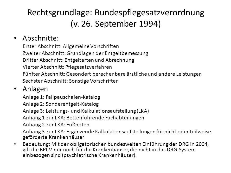 Rechtsgrundlage: Bundespflegesatzverordnung (v. 26. September 1994) Abschnitte: Erster Abschnitt: Allgemeine Vorschriften Zweiter Abschnitt: Grundlage