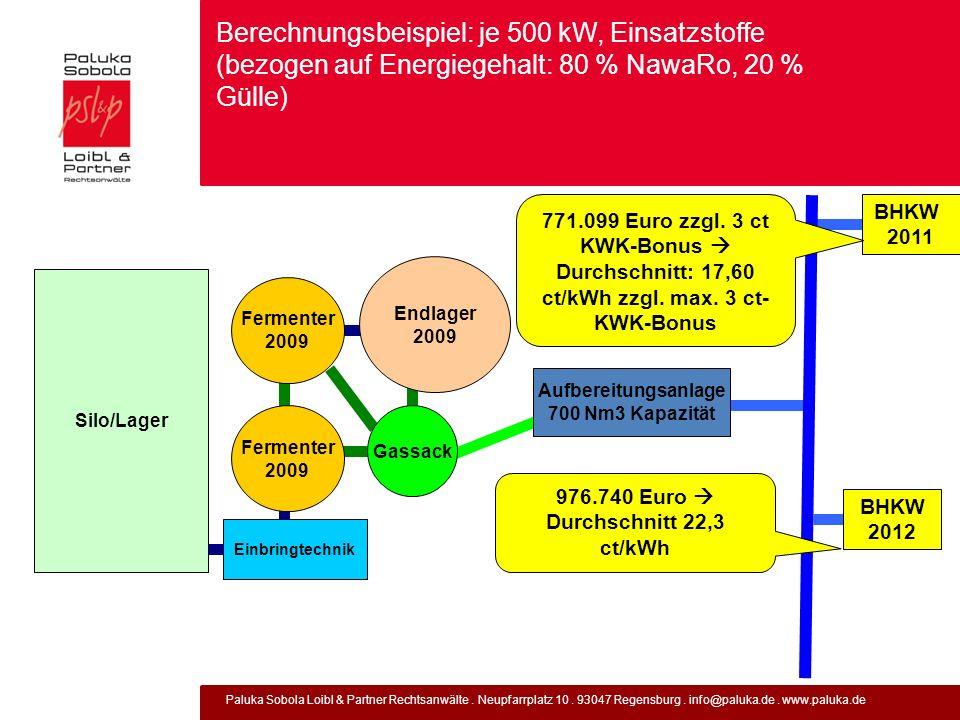 Paluka Sobola Loibl & Partner Rechtsanwälte. Neupfarrplatz 10. 93047 Regensburg. info@paluka.de. www.paluka.de Berechnungsbeispiel: je 500 kW, Einsatz
