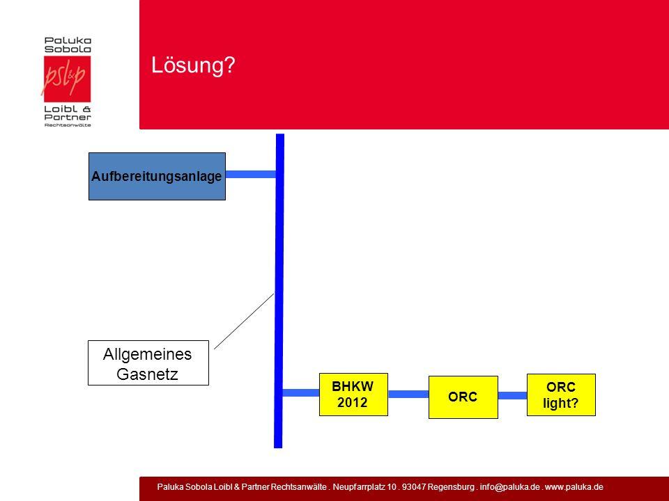 Paluka Sobola Loibl & Partner Rechtsanwälte. Neupfarrplatz 10. 93047 Regensburg. info@paluka.de. www.paluka.de Lösung? BHKW 2012 ORC Allgemeines Gasne