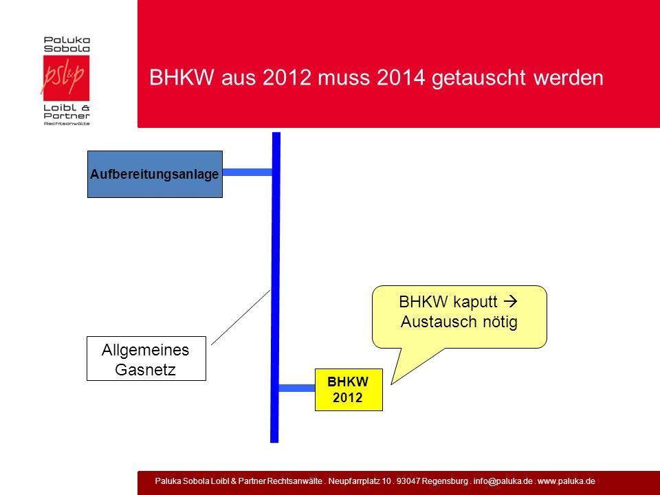 Paluka Sobola Loibl & Partner Rechtsanwälte. Neupfarrplatz 10. 93047 Regensburg. info@paluka.de. www.paluka.de BHKW aus 2012 muss 2014 getauscht werde