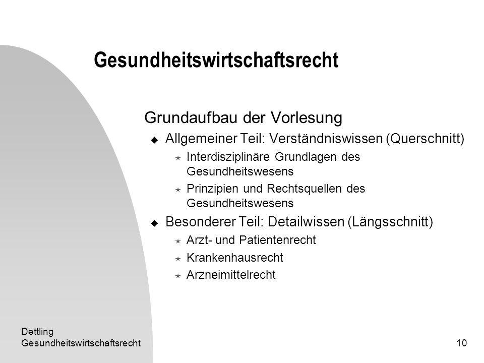 Dettling Gesundheitswirtschaftsrecht10 Gesundheitswirtschaftsrecht Grundaufbau der Vorlesung Allgemeiner Teil: Verständniswissen (Querschnitt) Interdi