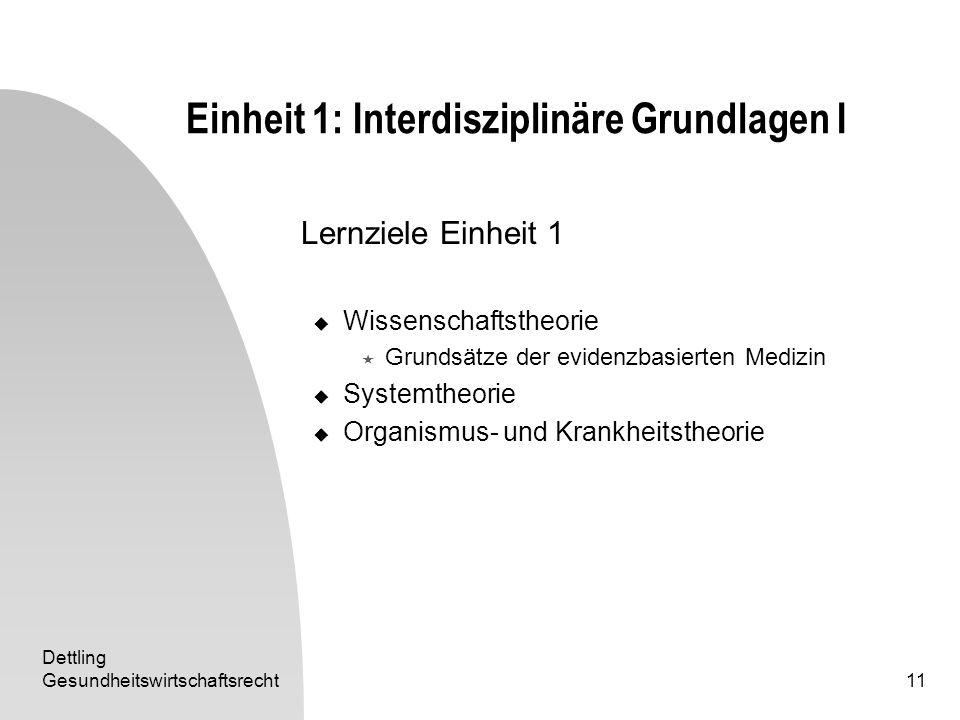 Dettling Gesundheitswirtschaftsrecht11 Einheit 1: Interdisziplinäre Grundlagen I Lernziele Einheit 1 Wissenschaftstheorie Grundsätze der evidenzbasier