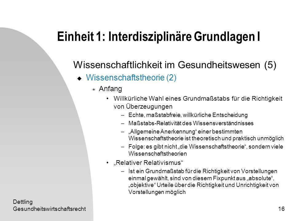 Dettling Gesundheitswirtschaftsrecht16 Einheit 1: Interdisziplinäre Grundlagen I Wissenschaftlichkeit im Gesundheitswesen (5) Wissenschaftstheorie (2)