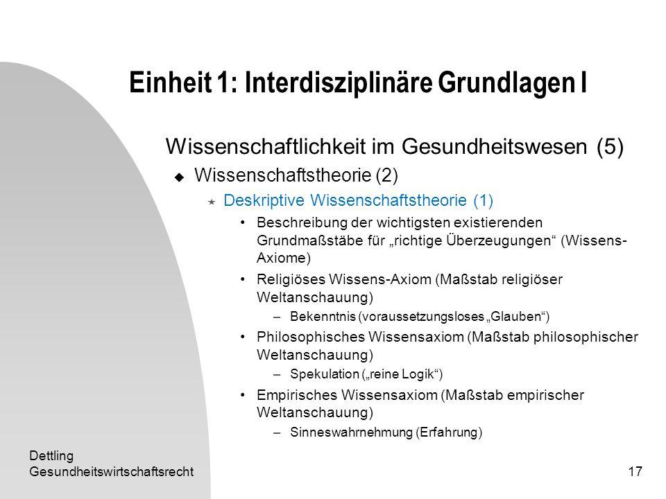 Dettling Gesundheitswirtschaftsrecht17 Einheit 1: Interdisziplinäre Grundlagen I Wissenschaftlichkeit im Gesundheitswesen (5) Wissenschaftstheorie (2)