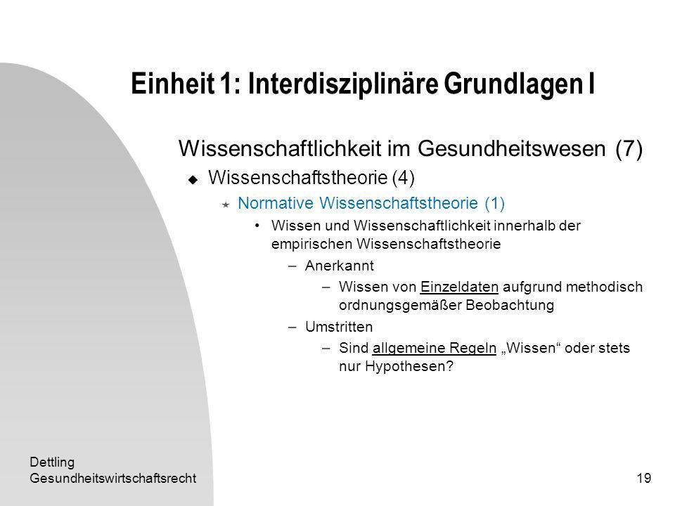 Dettling Gesundheitswirtschaftsrecht19 Einheit 1: Interdisziplinäre Grundlagen I Wissenschaftlichkeit im Gesundheitswesen (7) Wissenschaftstheorie (4)
