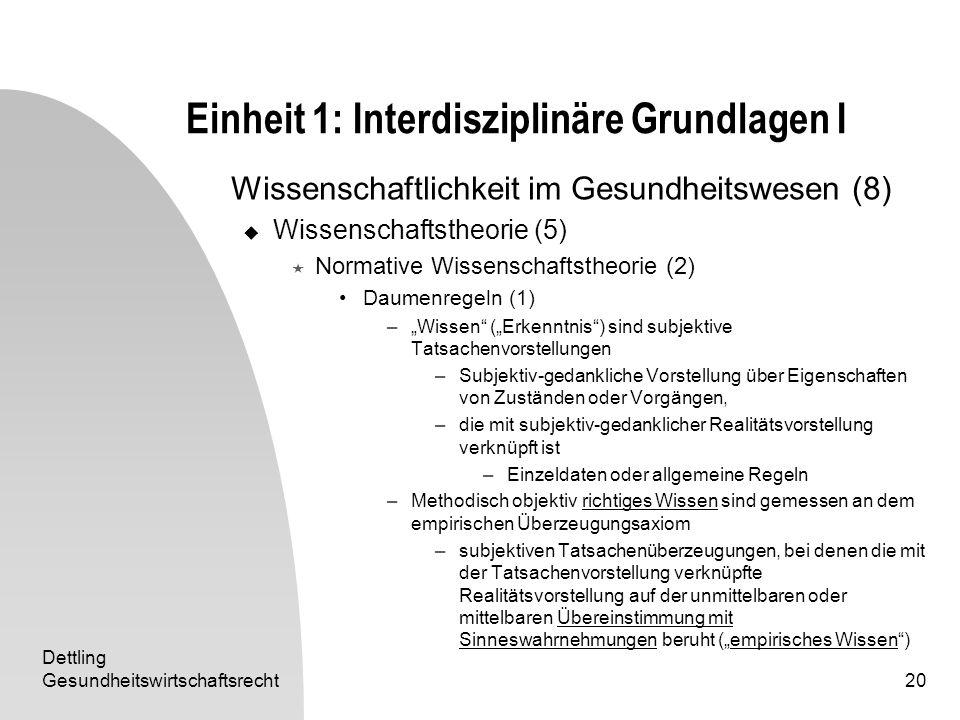 Dettling Gesundheitswirtschaftsrecht20 Einheit 1: Interdisziplinäre Grundlagen I Wissenschaftlichkeit im Gesundheitswesen (8) Wissenschaftstheorie (5)