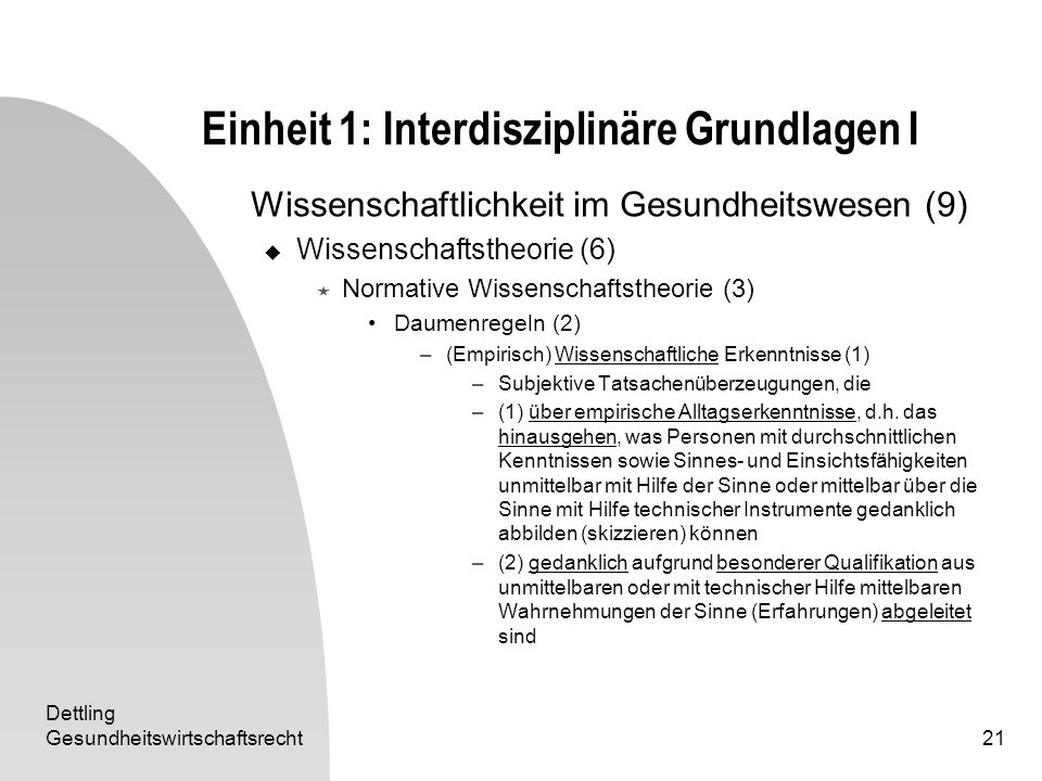 Dettling Gesundheitswirtschaftsrecht21 Einheit 1: Interdisziplinäre Grundlagen I Wissenschaftlichkeit im Gesundheitswesen (9) Wissenschaftstheorie (6)