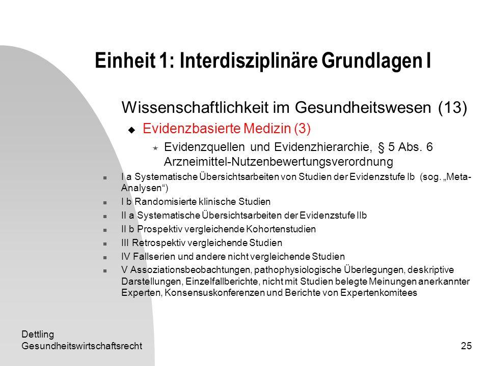 Dettling Gesundheitswirtschaftsrecht25 Einheit 1: Interdisziplinäre Grundlagen I Wissenschaftlichkeit im Gesundheitswesen (13) Evidenzbasierte Medizin