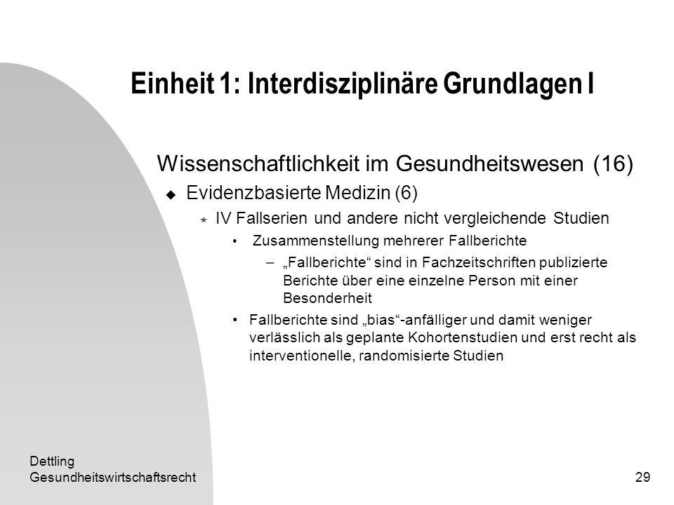 Dettling Gesundheitswirtschaftsrecht29 Einheit 1: Interdisziplinäre Grundlagen I Wissenschaftlichkeit im Gesundheitswesen (16) Evidenzbasierte Medizin