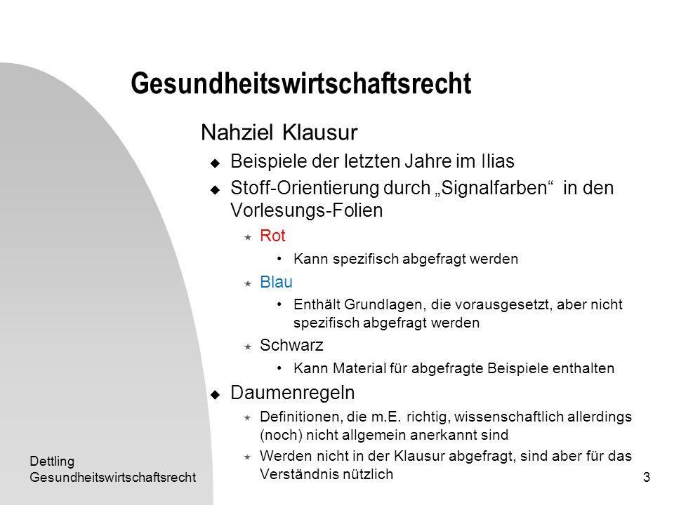 Dettling Gesundheitswirtschaftsrecht3 Nahziel Klausur Beispiele der letzten Jahre im Ilias Stoff-Orientierung durch Signalfarben in den Vorlesungs-Fol