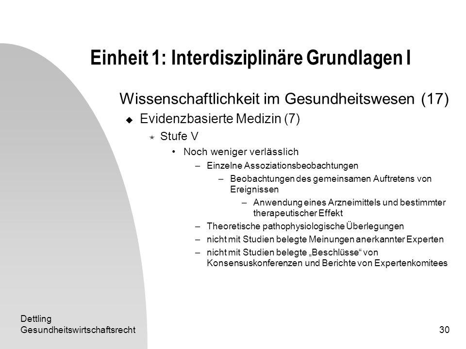 Dettling Gesundheitswirtschaftsrecht30 Einheit 1: Interdisziplinäre Grundlagen I Wissenschaftlichkeit im Gesundheitswesen (17) Evidenzbasierte Medizin