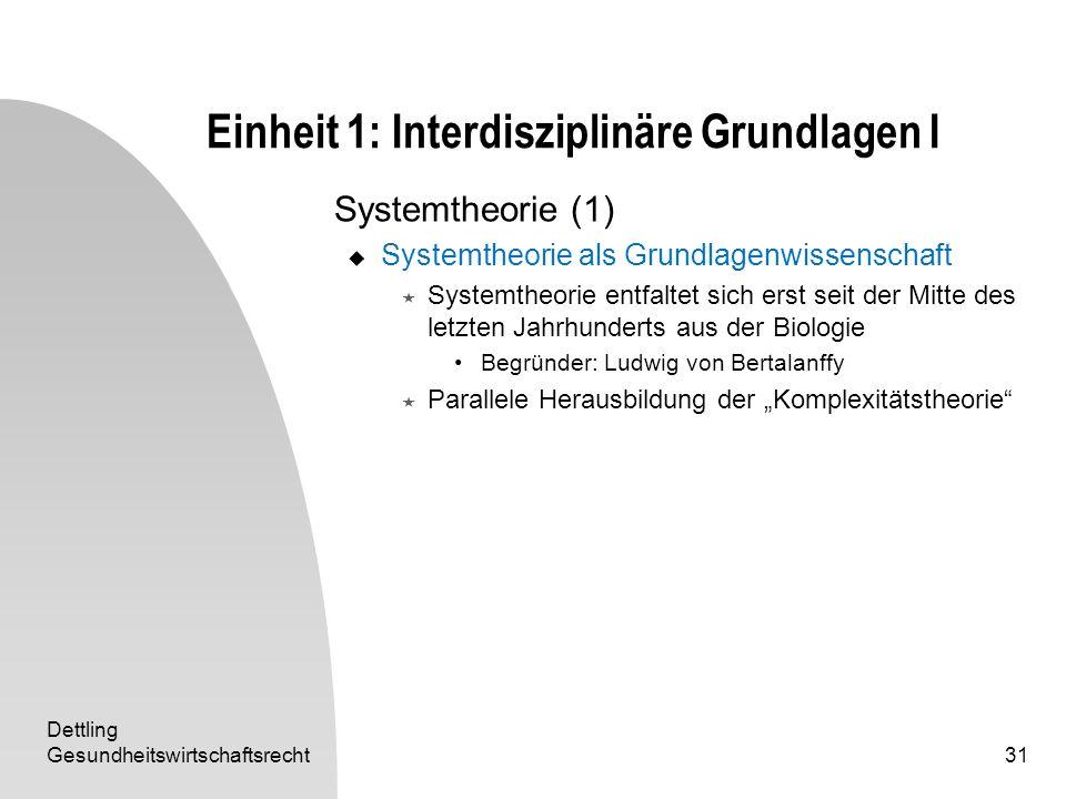 Dettling Gesundheitswirtschaftsrecht31 Einheit 1: Interdisziplinäre Grundlagen I Systemtheorie (1) Systemtheorie als Grundlagenwissenschaft Systemtheo