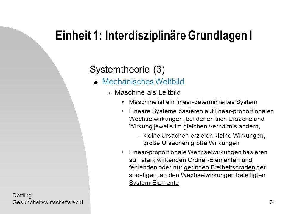 Dettling Gesundheitswirtschaftsrecht34 Einheit 1: Interdisziplinäre Grundlagen I Systemtheorie (3) Mechanisches Weltbild Maschine als Leitbild Maschin