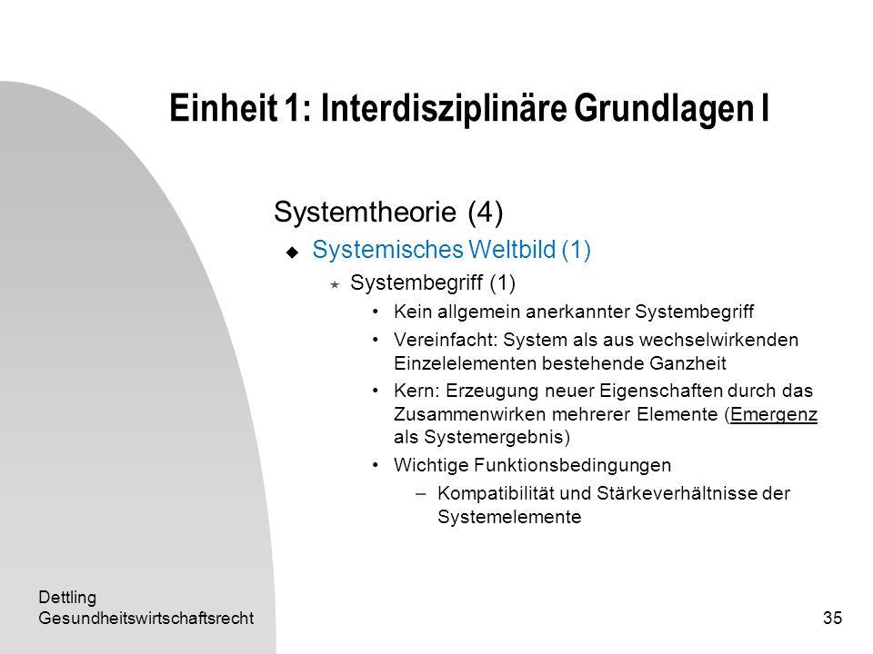 Dettling Gesundheitswirtschaftsrecht35 Einheit 1: Interdisziplinäre Grundlagen I Systemtheorie (4) Systemisches Weltbild (1) Systembegriff (1) Kein al
