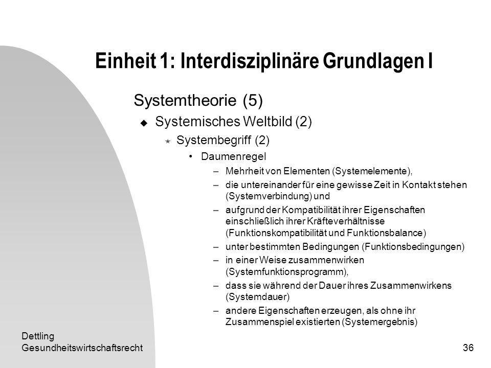 Dettling Gesundheitswirtschaftsrecht36 Einheit 1: Interdisziplinäre Grundlagen I Systemtheorie (5) Systemisches Weltbild (2) Systembegriff (2) Daumenr