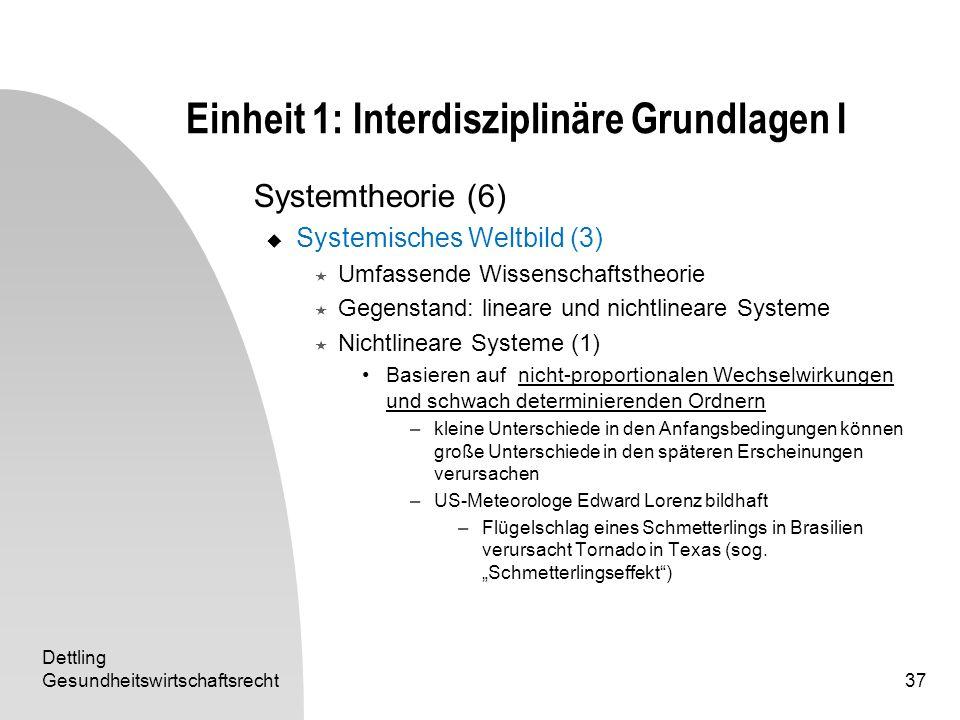 Dettling Gesundheitswirtschaftsrecht37 Einheit 1: Interdisziplinäre Grundlagen I Systemtheorie (6) Systemisches Weltbild (3) Umfassende Wissenschaftst
